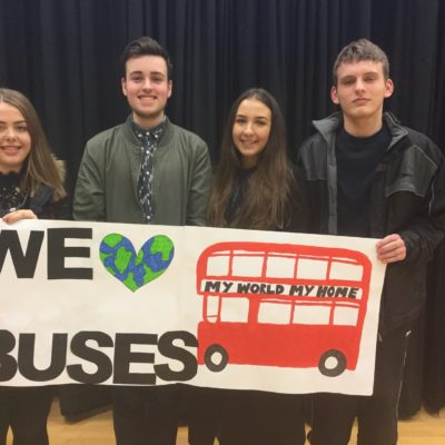 Queen Elizabeth School Mansfield presenting their Bus Fare Subsidy campaign in school assembly